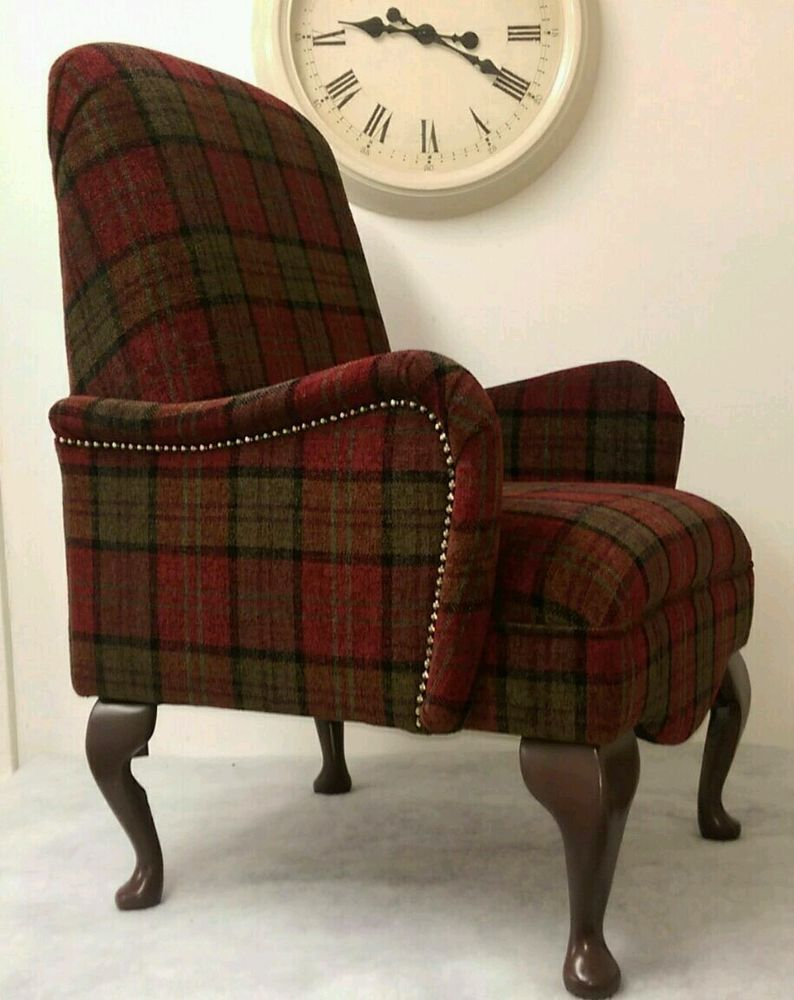 Country Shabby Chic Red Lana Tartan Bedroom Chair Free Delivery Uk Mainland