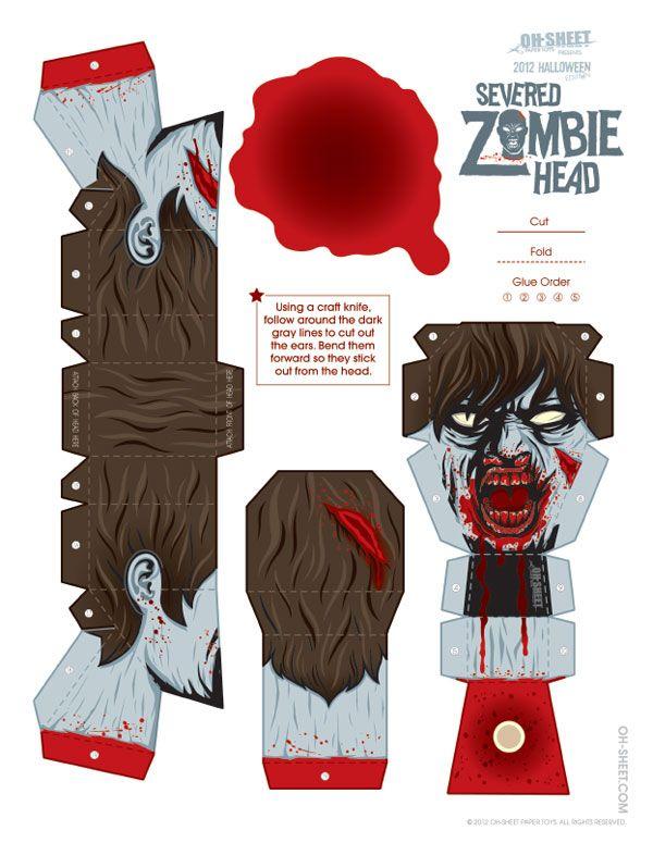 Halloween Bouwplaten.841 Zombie Papertoy Template Zombie Head Bouwplaten