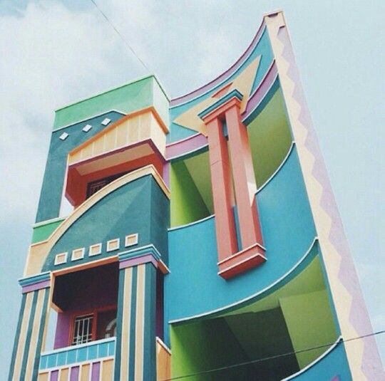 This town  Tirunamavalai in South India  It looks like an Etore Sottsass  Memphis Milano dreamscape  doesn t it   What is Memphis Milano  Read my  intro post  Tirunamavalai  India     We ve got to go someplace  find something  . Post Modern Buildings In India. Home Design Ideas