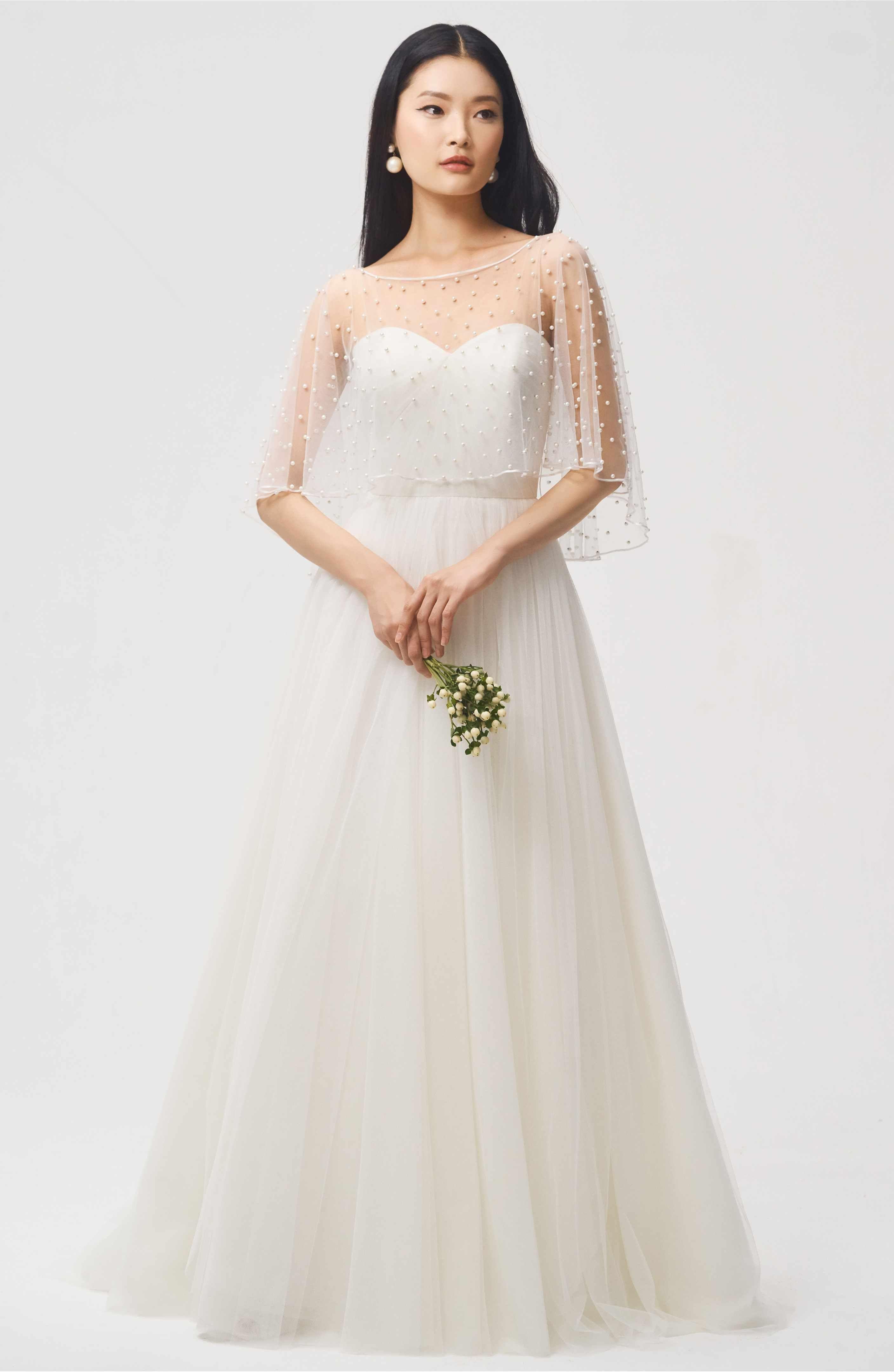 Dreamy jenny yoo fiona imitation pearl tulle top weddingdress