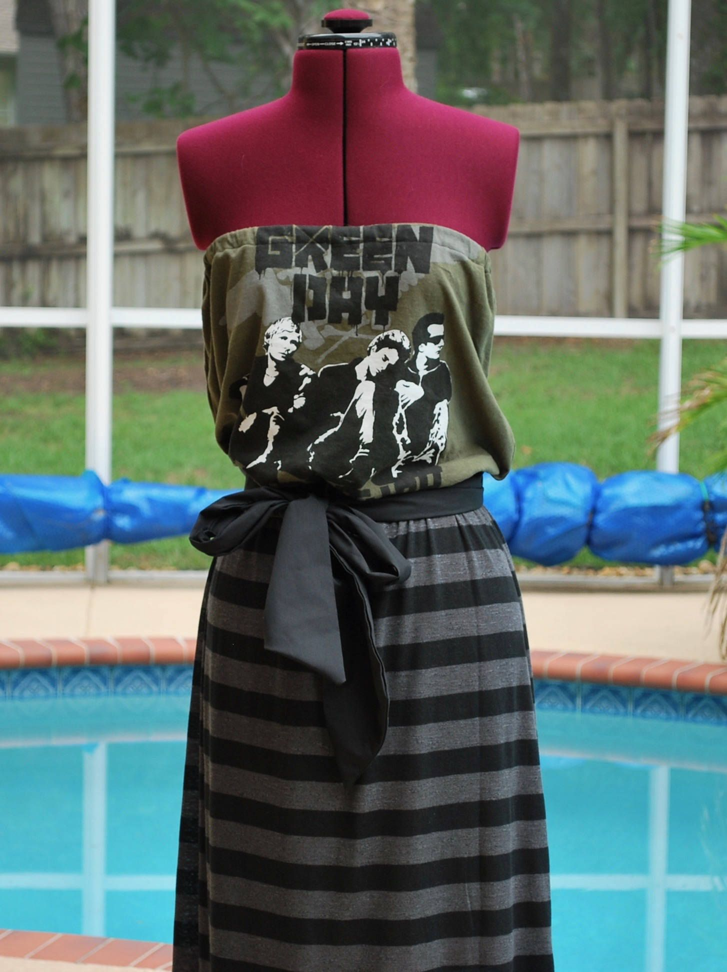 Green Day Concert Strapless Maxi Dress with Sash made with ...