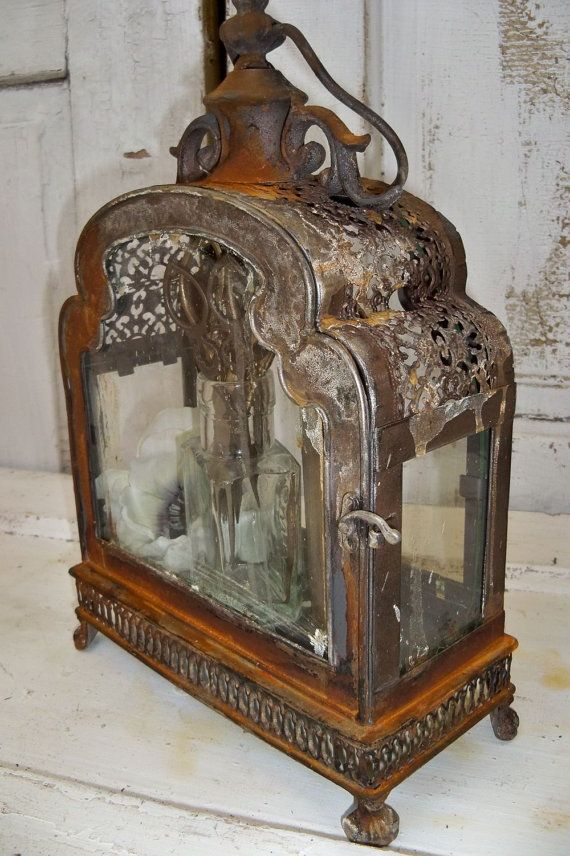 Glass And Metal Display Case Ornate Distressed By