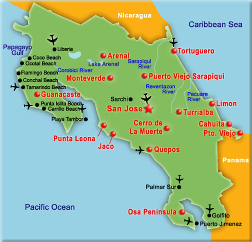Costa Rica Attractions Map Travel Costa Rica Pinterest Costa