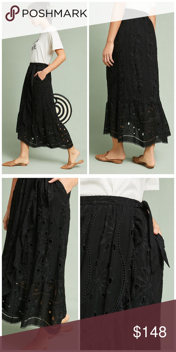 720d4837a NWT, Anthropologie Maeve Nicia Wrap Eyelet Skirt Rayon, cotton Wrapped  silhouette Tie closure Hand wash Imported BNWTA! Size 8 By Maeve Purchased  at ...