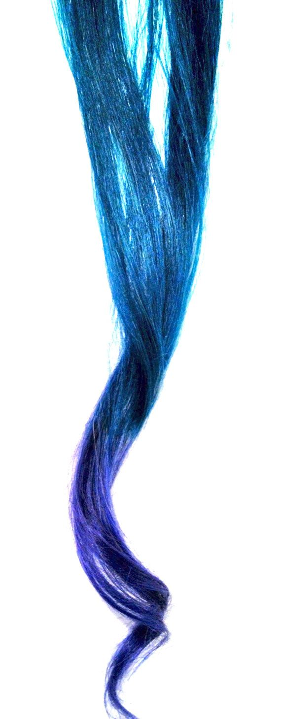 Teal and royal ombre dip dyed hair extensions sy