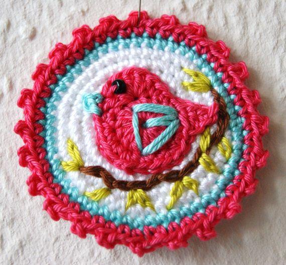Crochet Applique Bird Small Cotton / Pink  door SympaticoShop, €4.20