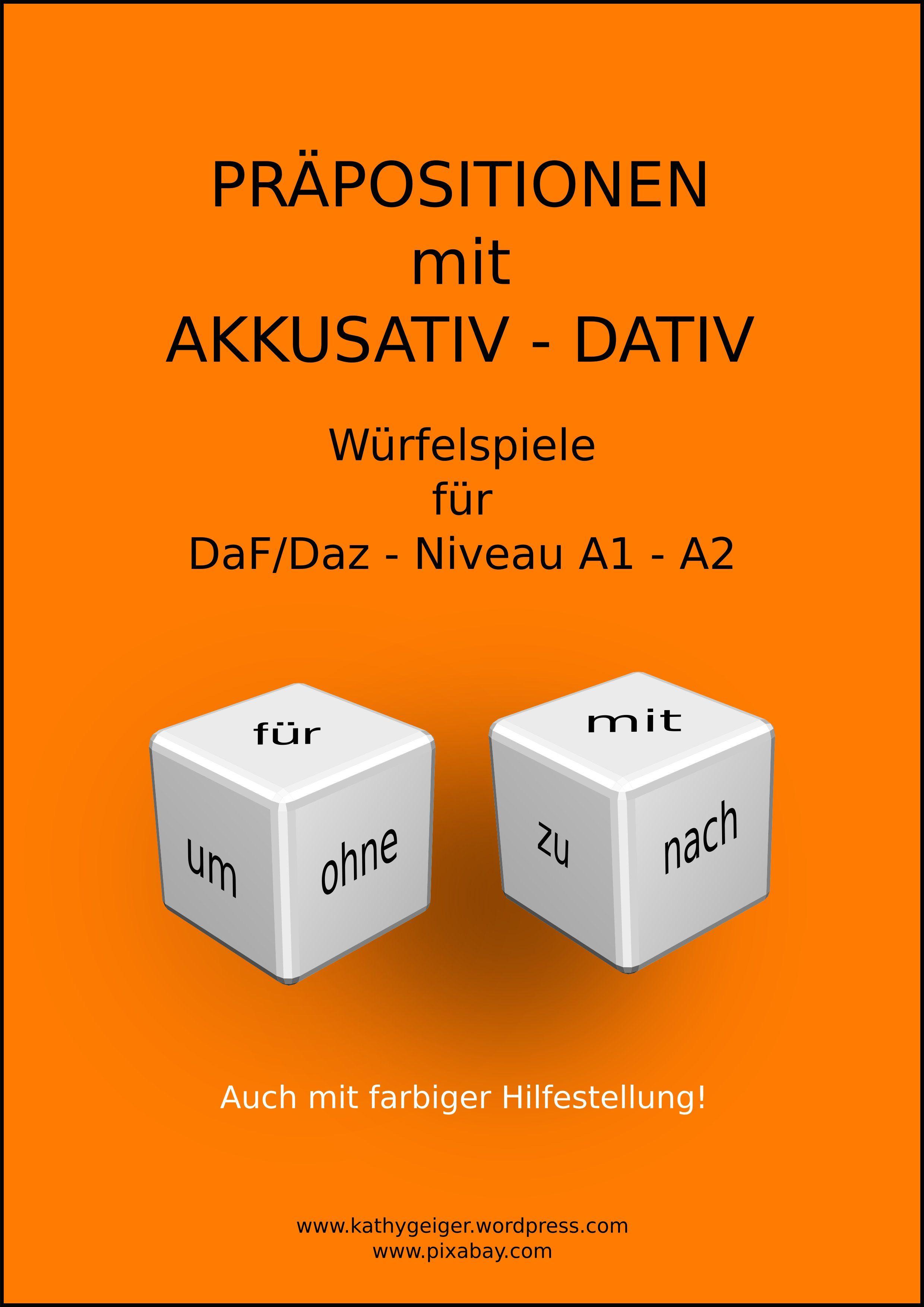Würfelspiel für Akkusativ- und Dativ-Präpositionen, DaF-DaZ Niveau ...