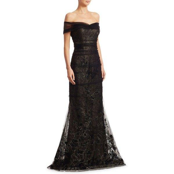 Teri Jon by Rickie Freeman Off-The-Shoulder Tulle Mermaid Gown ($760 ...