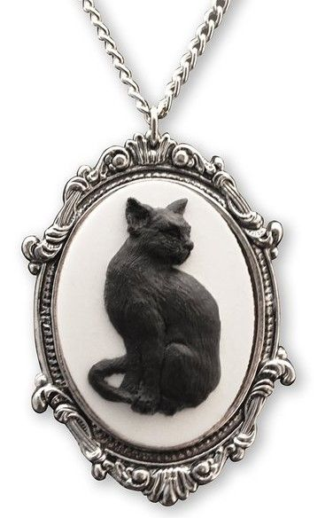 Black Cat Cameo In Antique Silver Finish Pewter Frame Pendant Necklace IACPj4qX6
