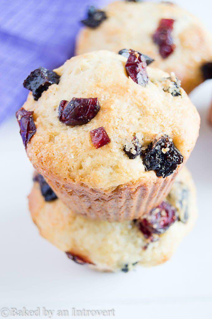 Berry Vanilla Yogurt Muffins - Moist muffins made with vanilla yogurt, loaded with dried cherries, blueberries, and cranberries.