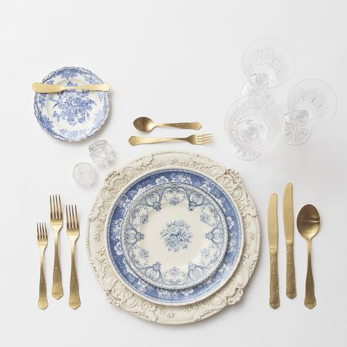 RENT: Verona Chargers in Antique White + Blue Garden Collection Vintage China + Chateau Flatware in Matte Gold + Czech Crystal Stemware + Antique Crystal Salt Cellars  SHOP:Verona Chargers in Antique White