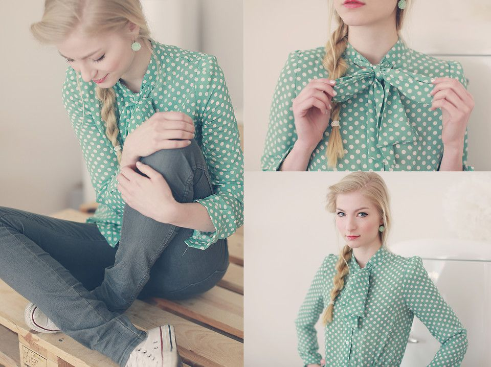 Joana ♡ - Sheinside Blouse, Converse Choes, H&M Trousers, Madeleine Issing Earrings - A dot for every happy thought | LOOKBOOK