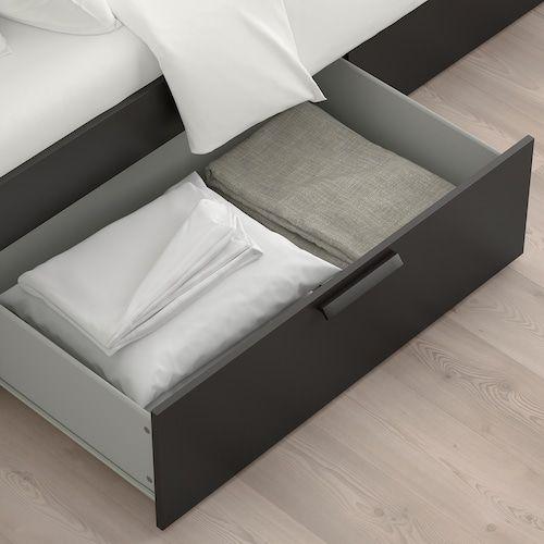 BRIMNES Bed frame with storage – black Full