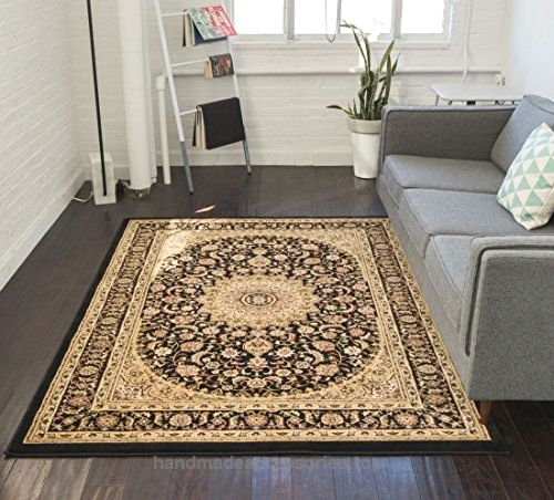 Sultan Medallion Black Oriental Area Rug 2 X 4 Persian Floral Traditional Easy Clean Stain Fade