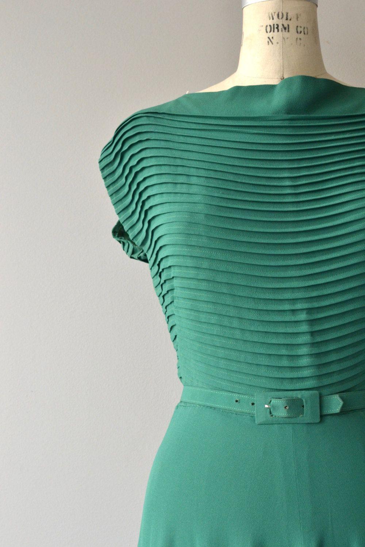 Viridian line dress vintage s dress long rayon by deargolden