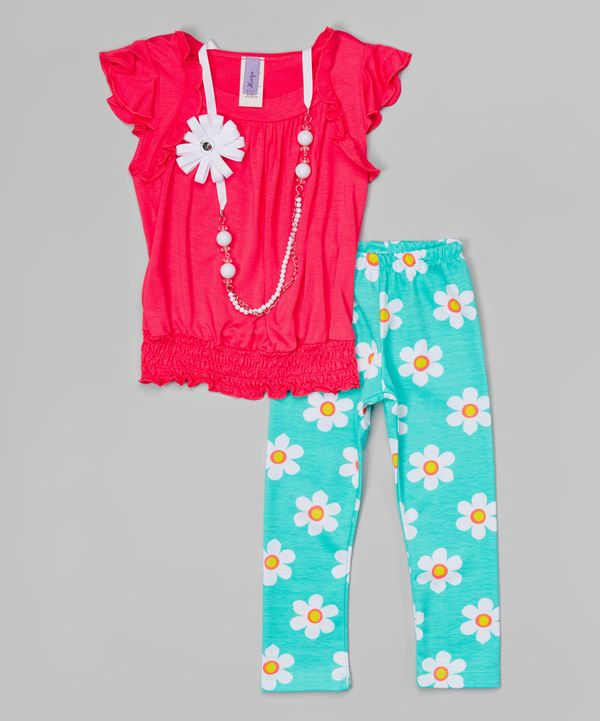 Look at this Coral Daisy Leggings Set - Girls on #zulily today!