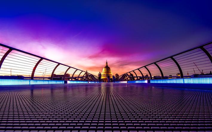 Lataa kuva Millennium-Silta, 4k, Thames, illalla, Lontoo, Englanti, UK