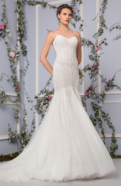 Mermaid dress wedding  Sweetheart mermaid dress embellished with curved beadings  Tony