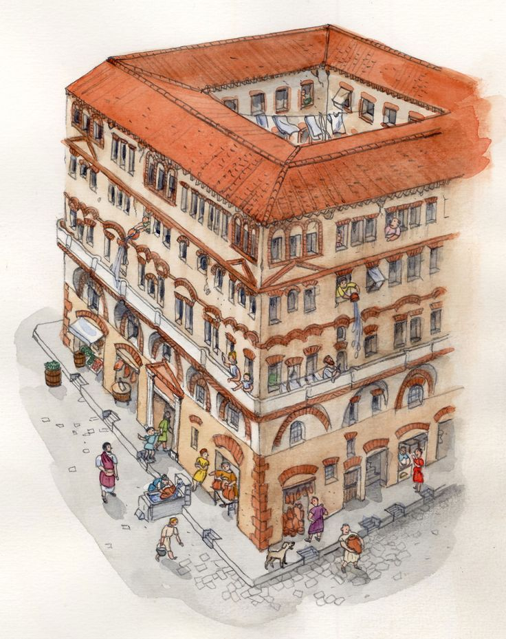 Ancient Roman Insula (apartment Building) By Mitsuko Onodera