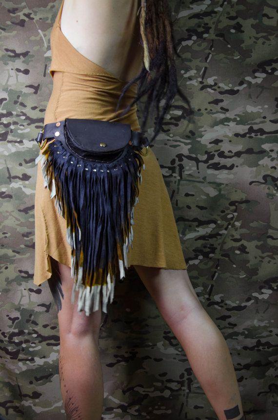Blue festival bum bag women Leather belt bag fringe