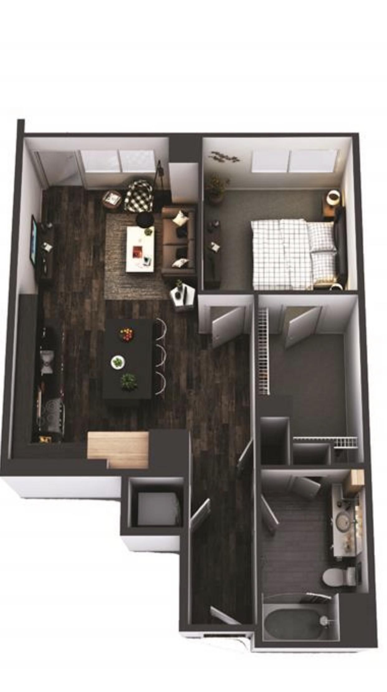 Ideas For Furniture Layout In A 780 Sq Ft One Bedroom Floor Plan And Real Photos In Comments Https Apartment Layout Bedroom Flooring Apartment Floor Plans