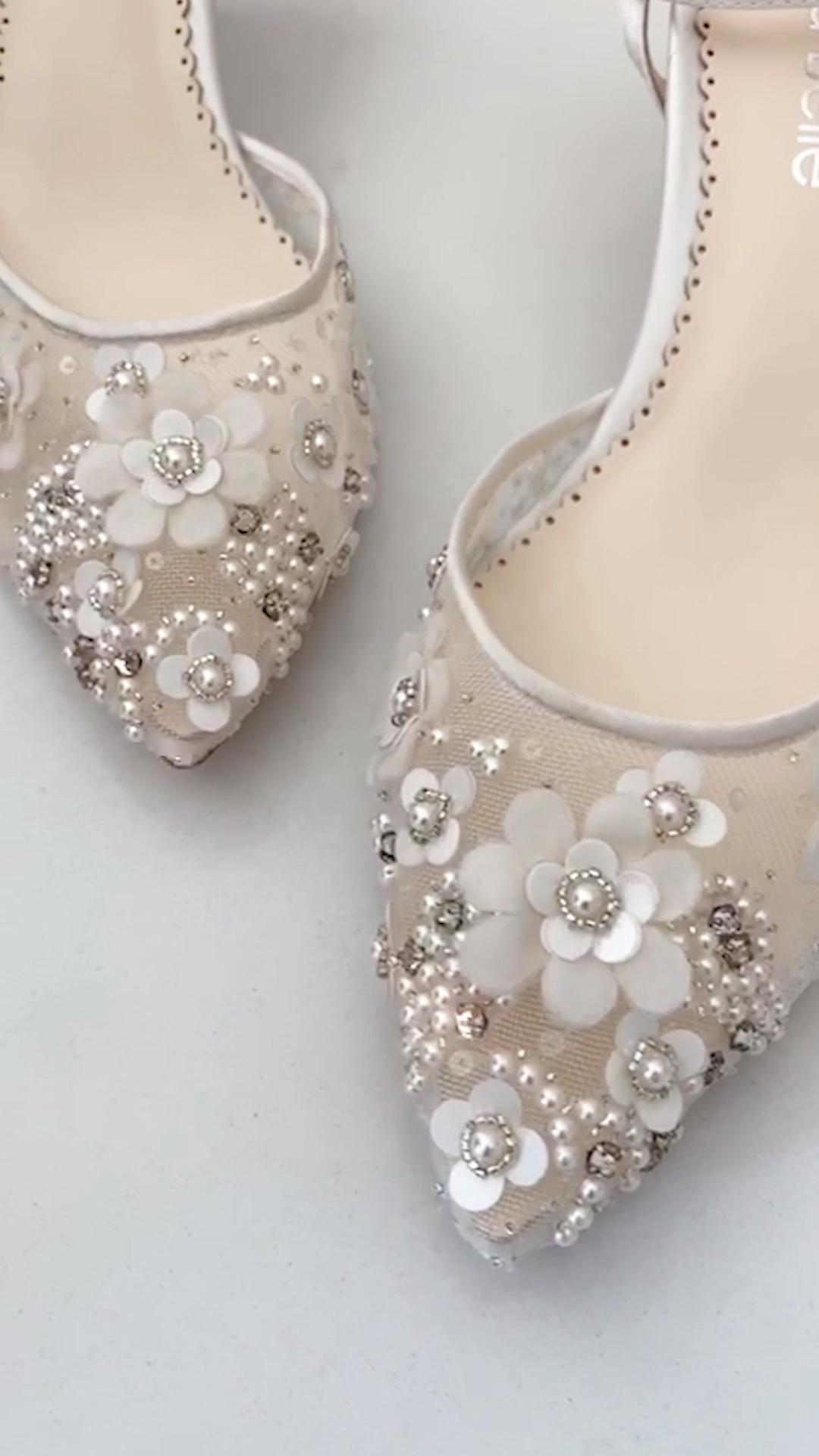 Beautiful Floral Beaded Low Heel Wedding Shoes