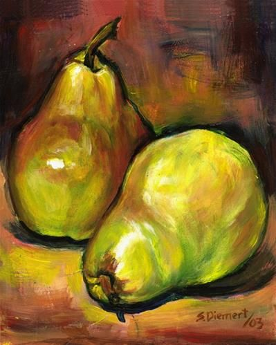 """Daily Paintworks - """"Pears"""" by Sheila Diemert www.sheiladiemert.com Pears in a still life painting. I've done many still life paintings including: apples, bananas, lemons, pears, peaches, persimmons, pomegranates, mushrooms, peppers, onions, turnips, radicchio, radishes, acorn squash, watermelon, and eggplants. This brings an appreciation for the beauty of fruits and vegetables--even turnips!"""