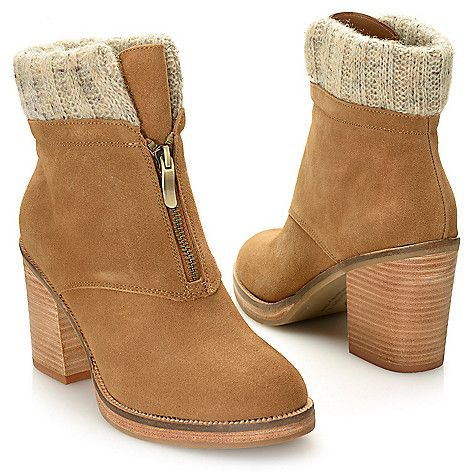 Chinese Laundry Marvel Suede Leather Front Zip Ankle Boots On
