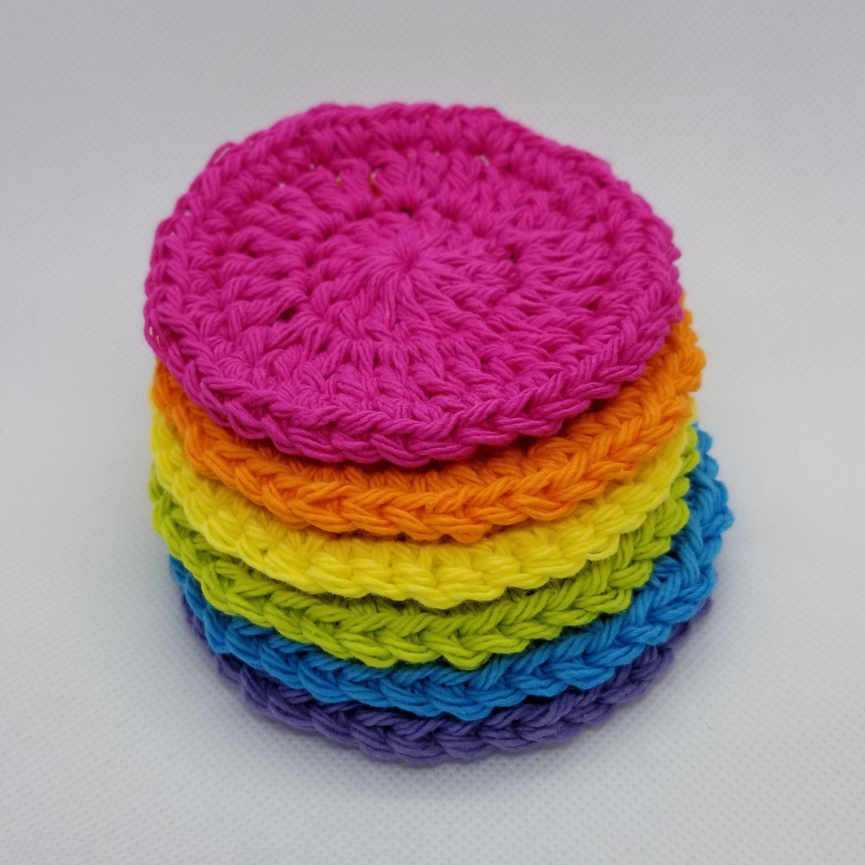 Face Scrubbies 100 Cotton, Rainbow, Round, Makeup