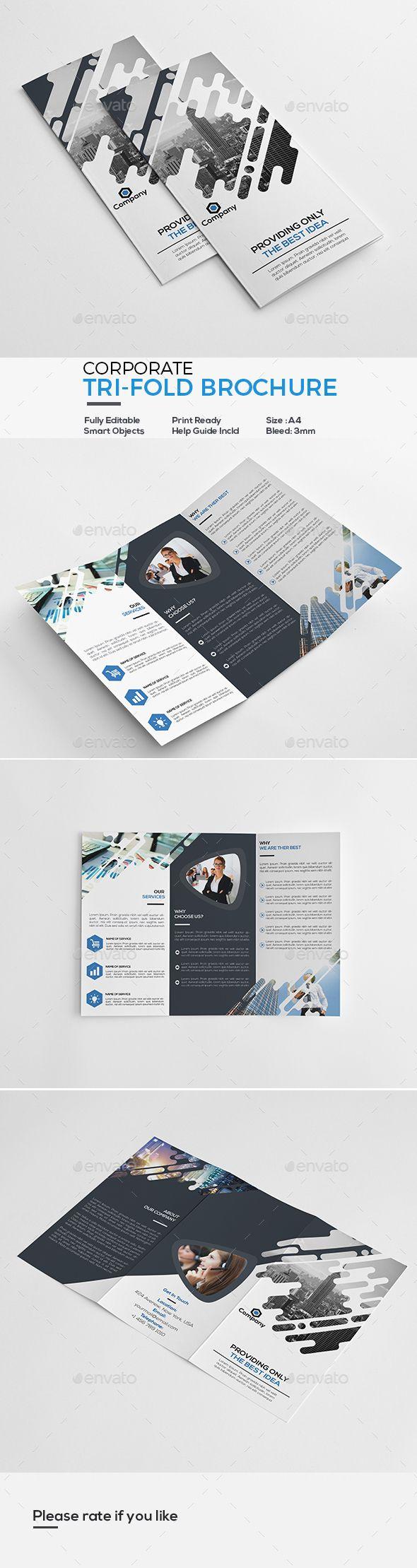 corporate tri fold brochure template psd design download