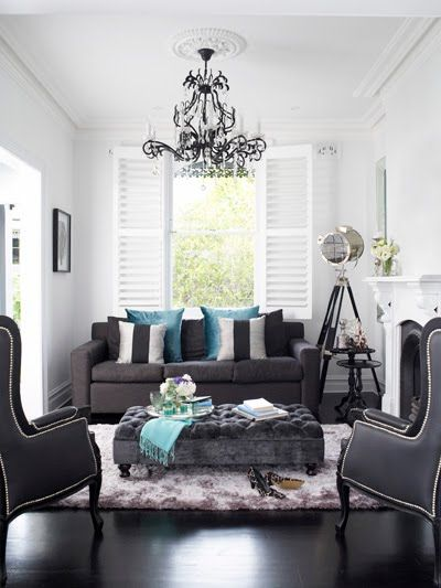 black and gray living room. Oliver Interiors  living rooms gray room sofa 2 seat silver and black pillows teal