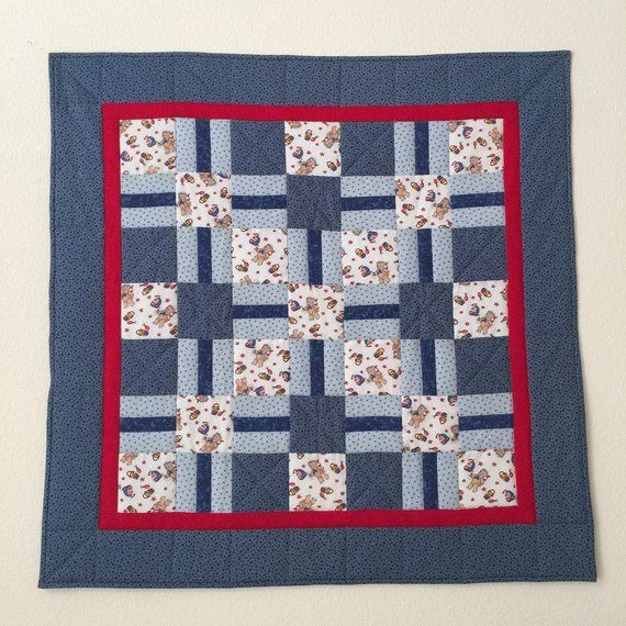 Baby Boy Quilt, Baby Quilt Handmade, Blue Baby Quilt, Baby -5551