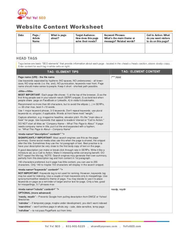 Website Content Worksheet | Website Design | Content ...