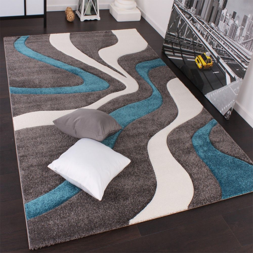 designer carpet with modern contour cuts in grey turquoise and white - Teppich Design Modern