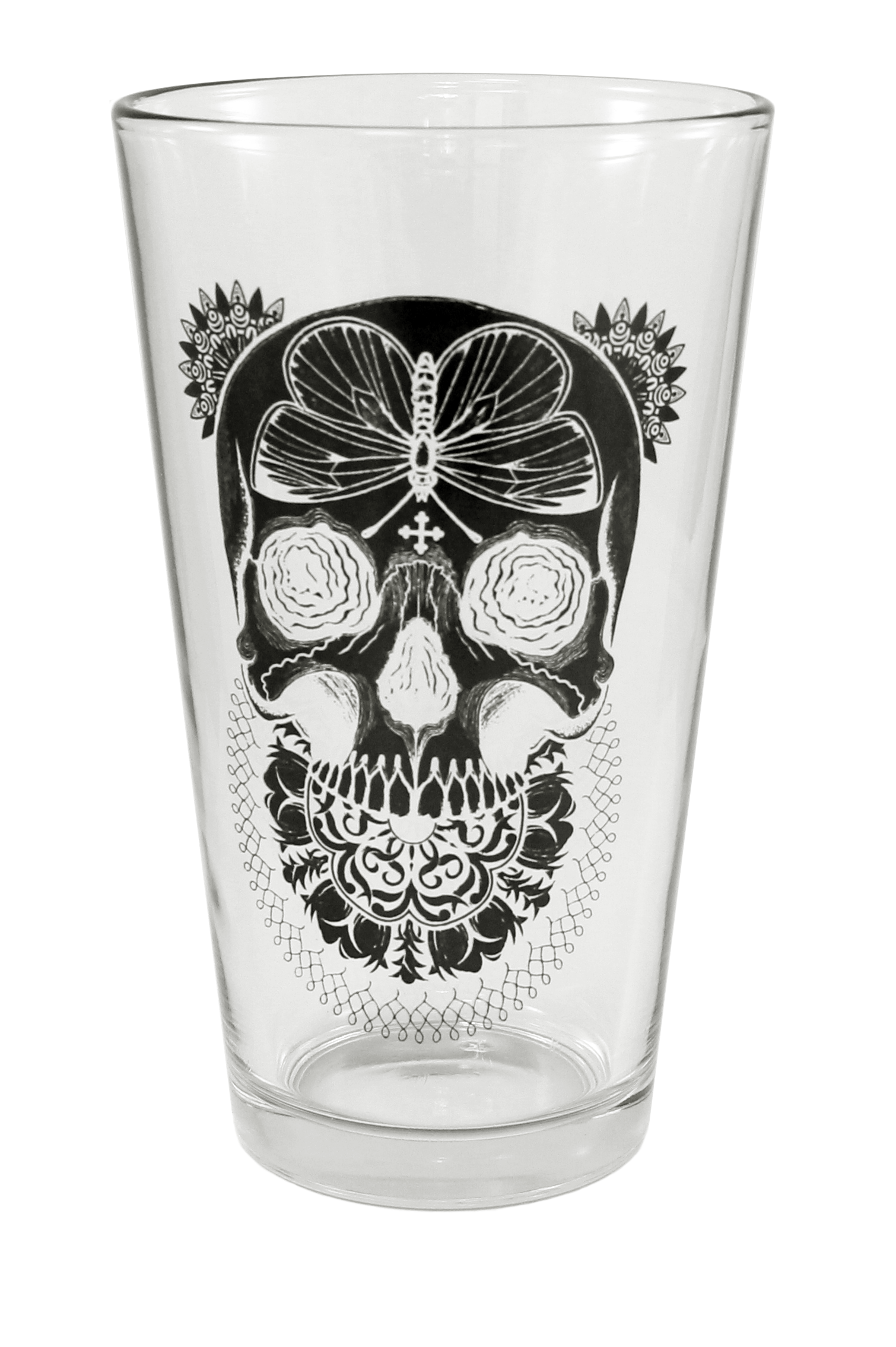 """""""Black Death"""" Pint Glass by Inked #InkedShop #pint #skull #moth #glass #cup"""