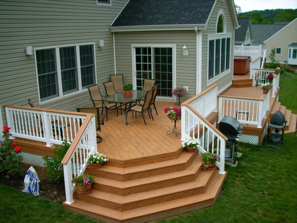 Backyard deck ideas for small backyard house pinterest for Outside decking material
