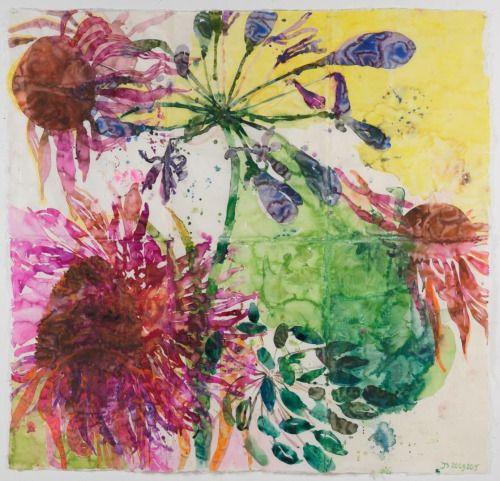 Jolanda Schouten Nl 1962 Very Large Flower Aquarelle 2015 C