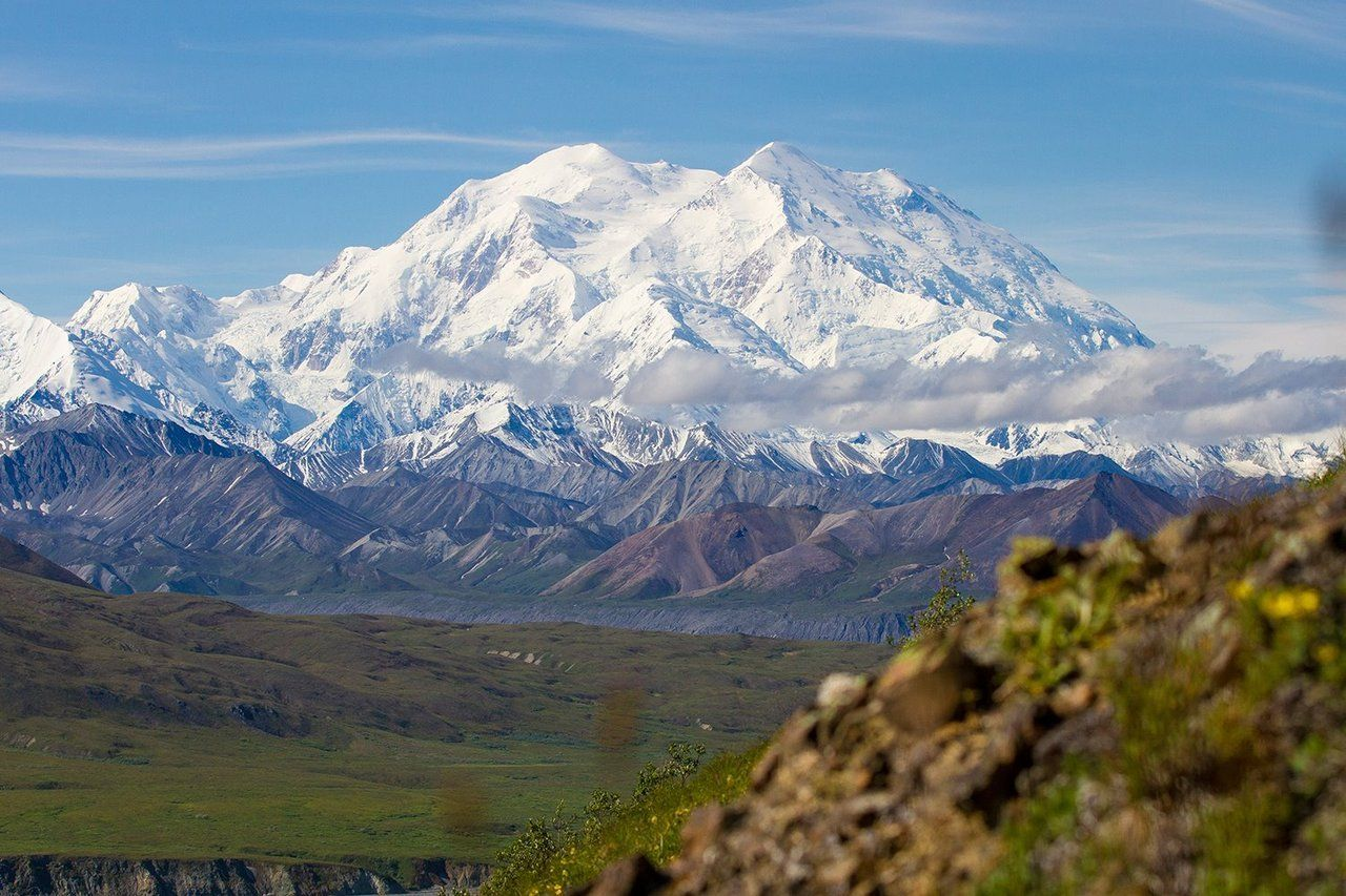 Standing Head And Shoulders Above The Crowd The Mountain Dominates The Landscape Of Central Alaska On Clear D National Parks Denali National Park Mountains