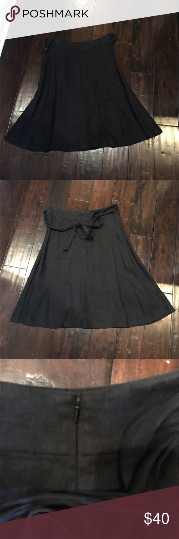 Halogen black linen skirt Beautiful skirt, never worn!  Amazing quality.  Zipper in back and ties in front or back. Halogen Skirts A-Line or Full