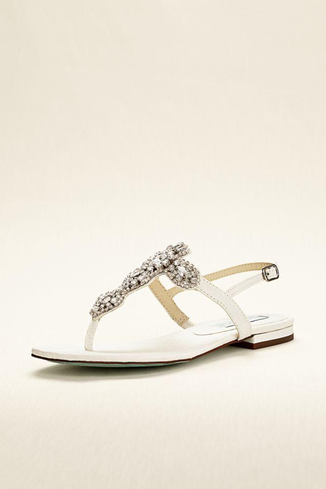 Wedding & Bridesmaid Flat Sandal with Crystal T Strap