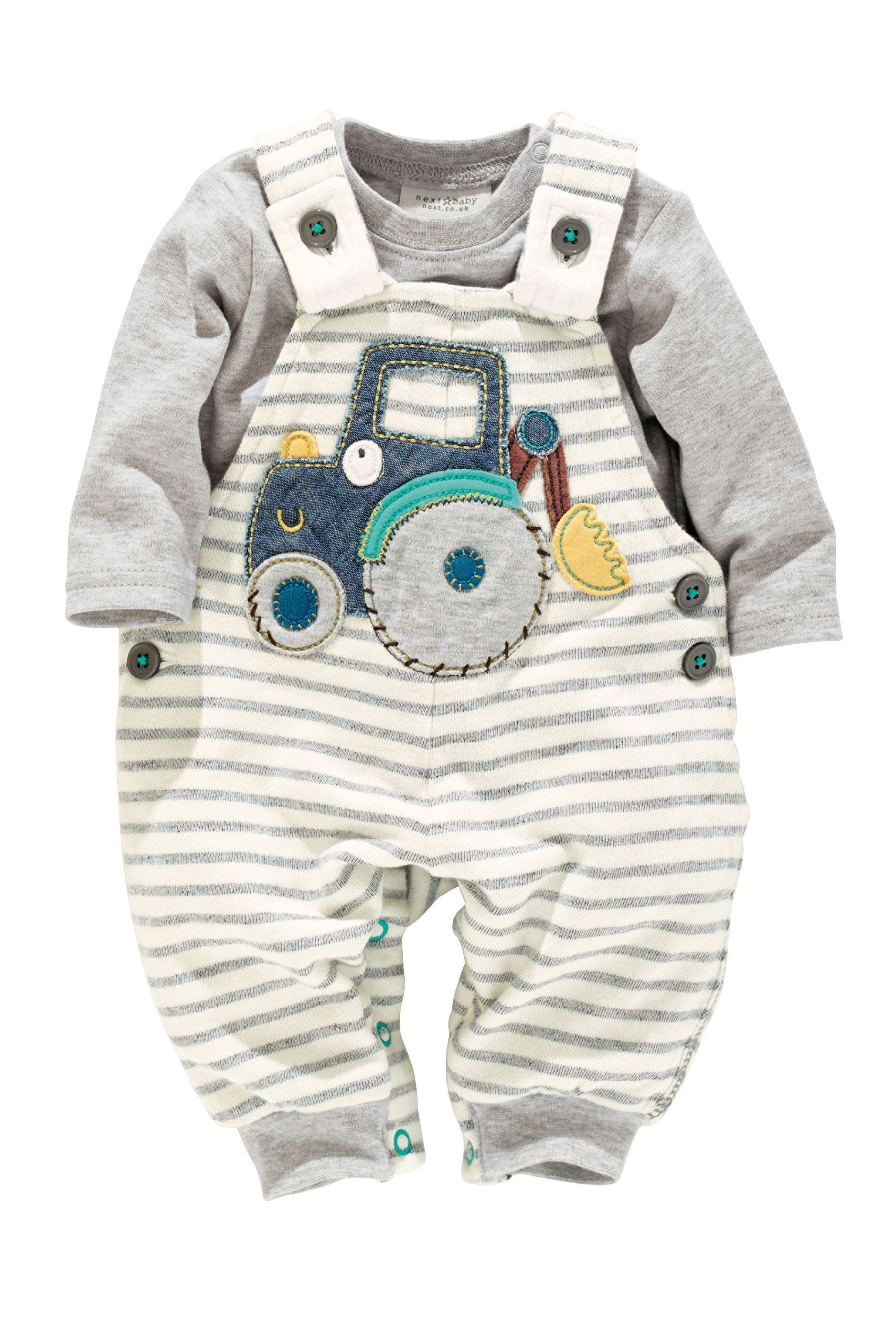 Buy Jersey Tractor Dungarees And Bodysuit 0 18mths from the Next