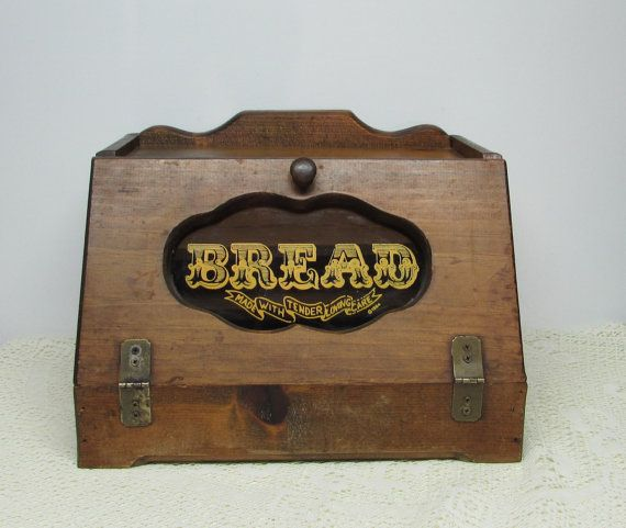 Wooden Rustic Bread Box Country Kitchen Glass Window In Rustic