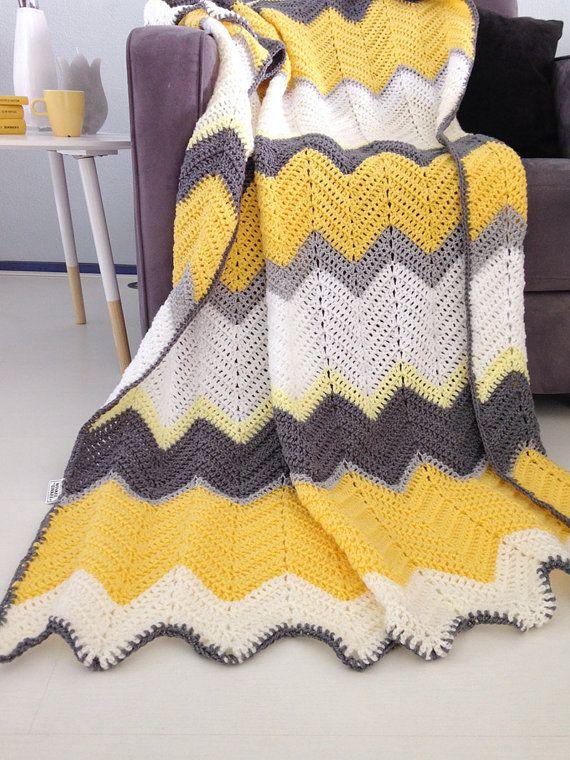 Hello yellow - afghan crochet chevron blanket -> made to order ...