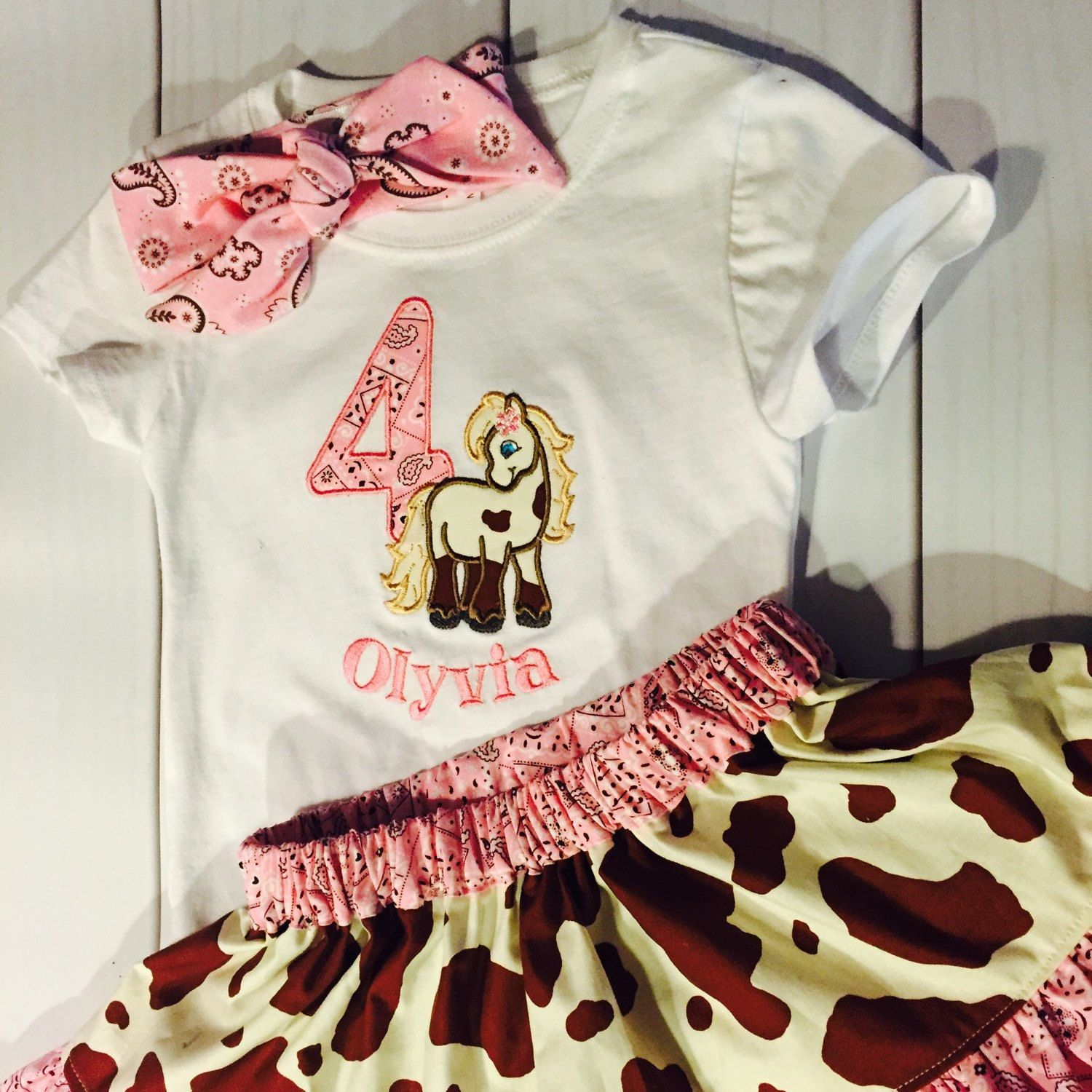 Nail Cake Blue Black Splodges Cow Print: Cowgirl Horse Skirt And Personalized Shirt Outfit For