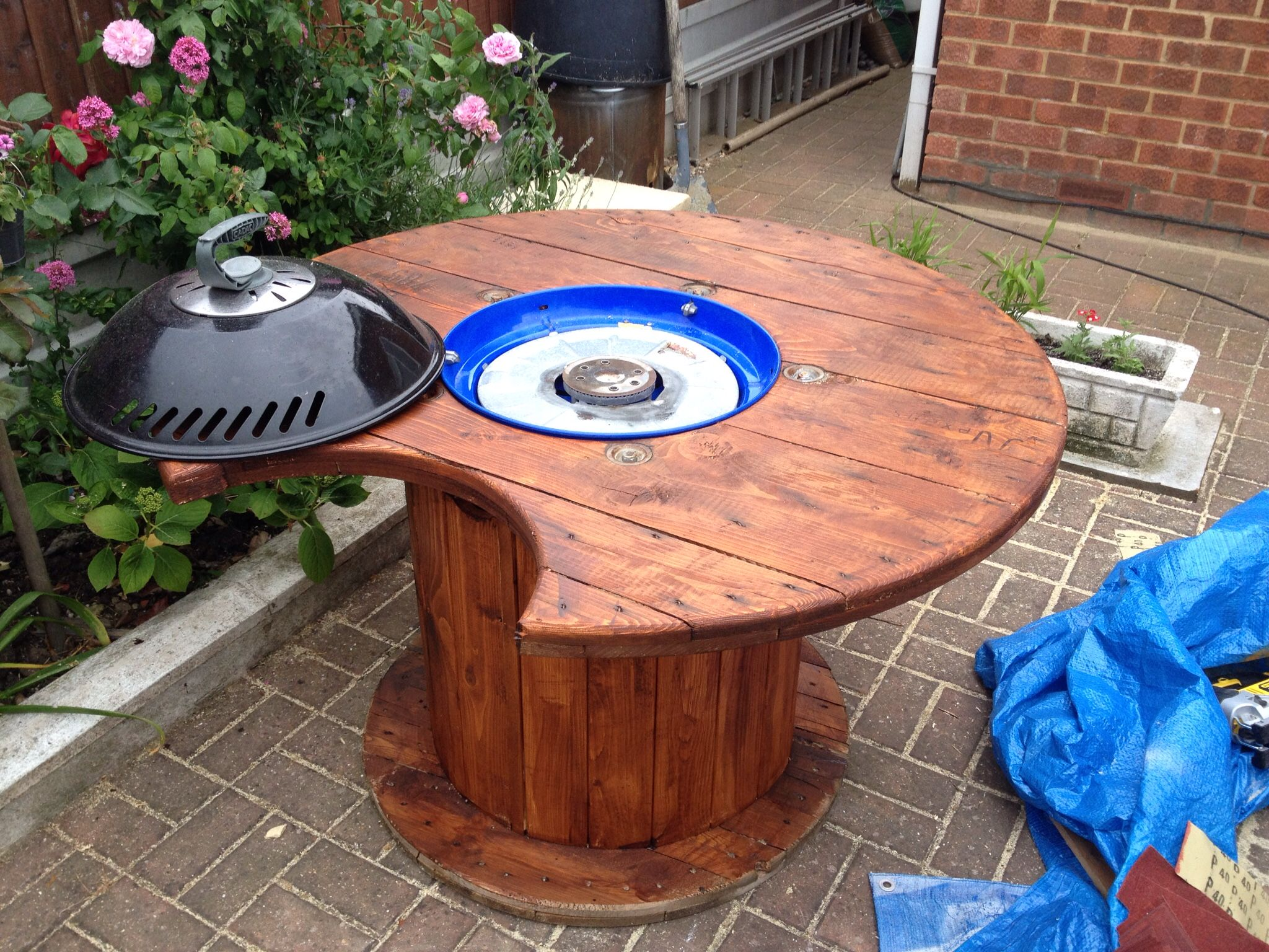 Old Cable Drum Turned Into Bbq With Gas Bottle Inside And
