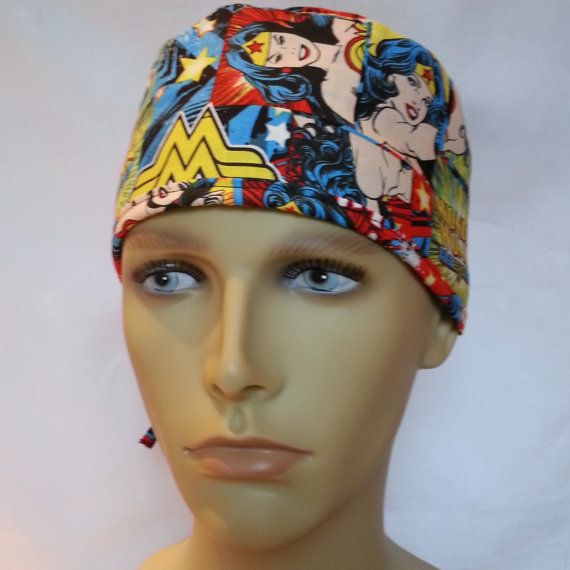 4e005e71db1 WONDER WOMAN Surgical scrub hat operating room hat theatre cap tie ...