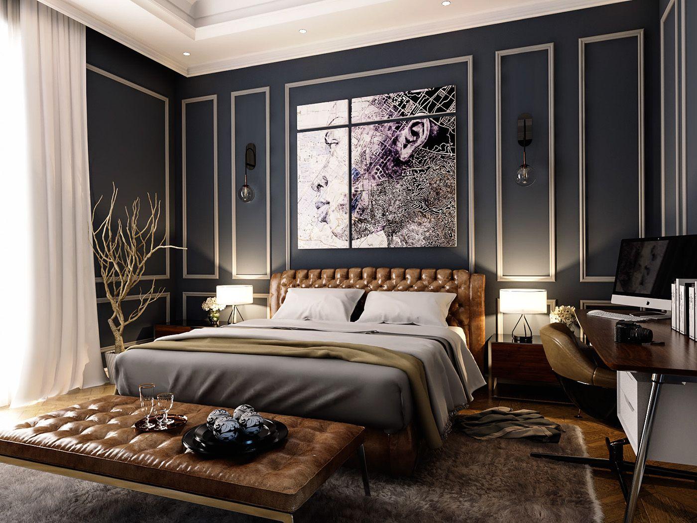 Elegant neoclassic Master Bedroom design located in Dubai ...