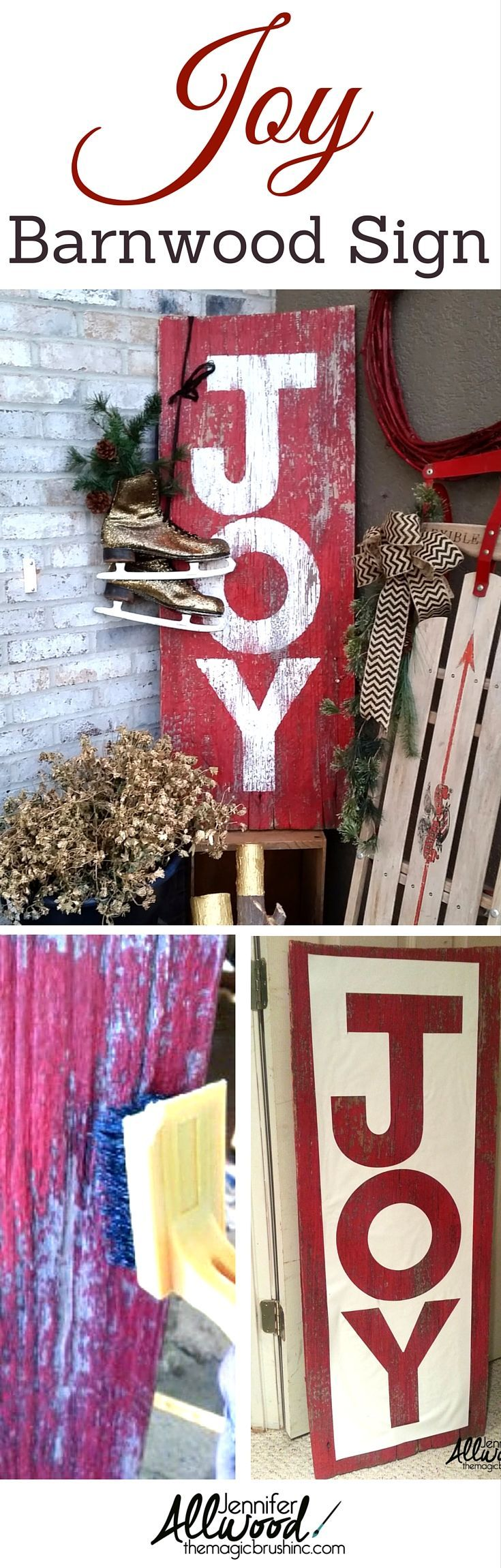 How to's : Here's how I made this cool distressed JOY sign on repurposed barnwood. It's very easy and makes for simple, poignant Christmas décor on your front porch or fireplace mantel. More DIY projects and painting tips at theMagicBrushinc.com