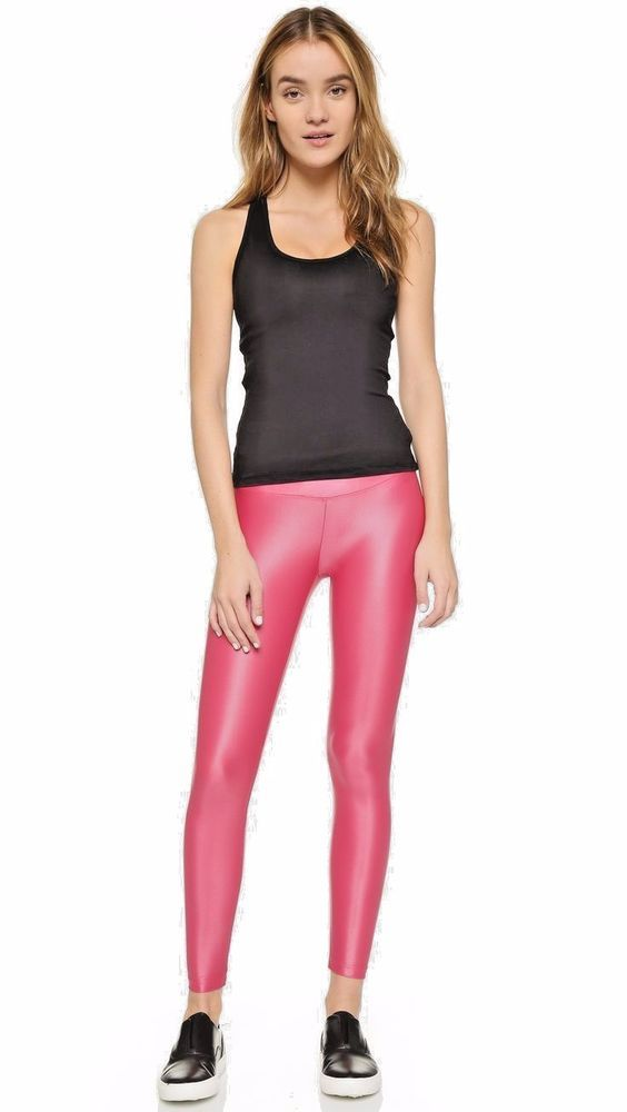 2eb7f67ba73d04 new women pink shiny satin neon liquid wet look leggings free size free  shipping #wetland #slimfit