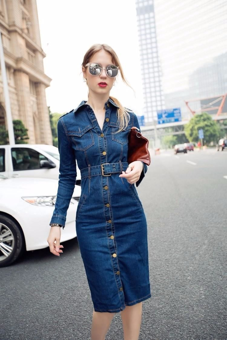 Slimming Denim Dress  881fbc2f5e91